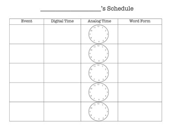 It's Time! Practice Reading Schedules with Analog Clocks and Digital Time