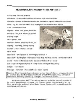 Reading & Science Lesson MARIA MITCHELL FIRST WOMEN ASTRONOMER w/ 20 Questions