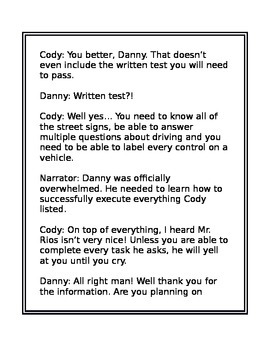 Reading Script- Driving with Danny