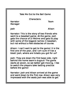 Reading Script- Take Me Out To The Ball Game