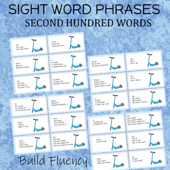 Sight Word Phrases for Reading Fluency Second Hundred Words