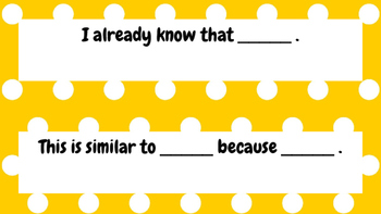 Reading Sentence Starters