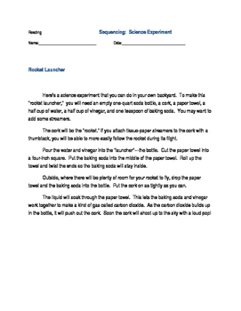 Reading Sequencing Science Experiment