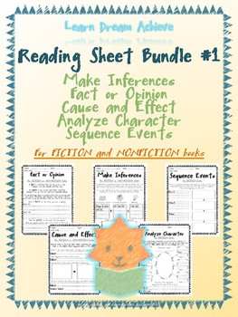 Reading Sheet Bundle #1: Inferences, Fact/Opinion, Cause/Effect, Characters