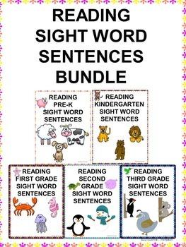 Reading Bundle: Sight Word Sentences (No Prep Worksheets)