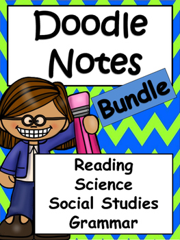 Reading Skills, Science, Social Studies, Grammar and Math Doodle Notes