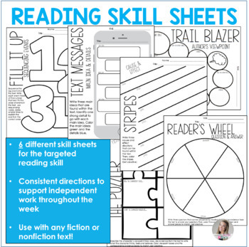 Reading Skill Sheets Creative Graphic Organizers Character Traits