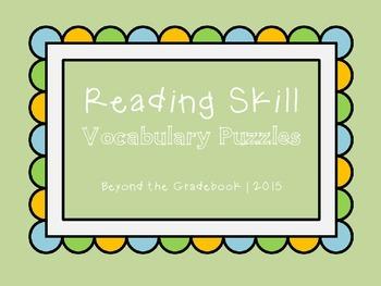 Reading Skill Vocabulary Puzzles