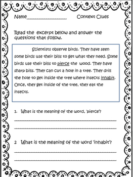 Reading Skills Review: Reading Comprehension Printables