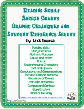 Reading Skills Anchor Charts, Student Reference Sheets and Graphic Organizers