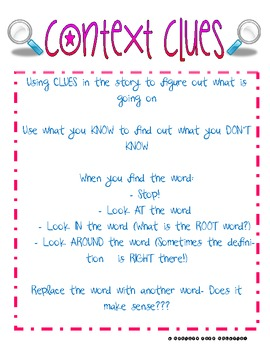 Reading Skills: Context Clues Anchor Chart by A Pencil and ...