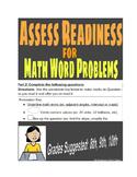 Math Word Problem Reading Diagnostic (Grades 6-10)