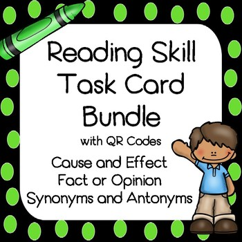 Reading Skills - Literacy Center Task Cards with QR Codes BUNDLE