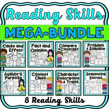 Reading Skills MEGA-BUNDLE- 8 skills with Task Cards, Flip Books and more