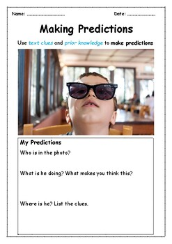 Reading Skills- Making Predictions using Photos ONE WEEK of Warm-ups