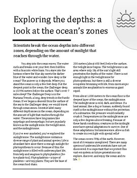 Reading Skills Passage - Exploring the depths: a look at the ocean's zones