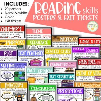 Reading Skills Posters with BONUS Exit Slips