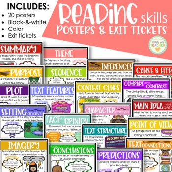 Reading Skills Posters and Exit Slips