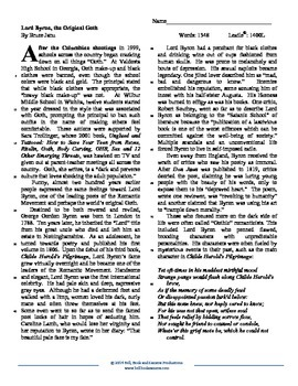 "Reading Skills Practice: ""Lord Byron, the Original Goth"""
