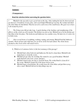 Reading Skills Practice - Summary - Grade 3