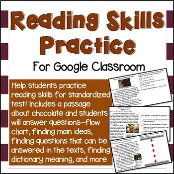 Reading Skills Practice for Google Classroom (4th grade State Testing Practice)