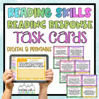 Reading Skills Reading Response Task Cards { Critical Thinking for ANY book }