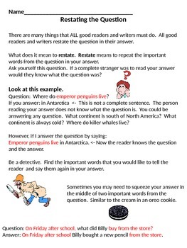 Reading Skills - Restating the Question