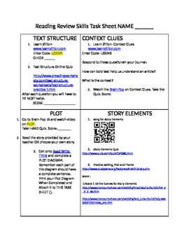 Reading Skills Task Sheet- Plot, Context Clues, Text Structure, Story Elements