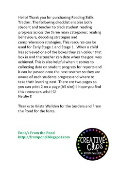 Reading Skills Tracker- Early Stage 1 and Stage 1