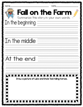 Reading Skills and Comprehension Activities Fall Themed