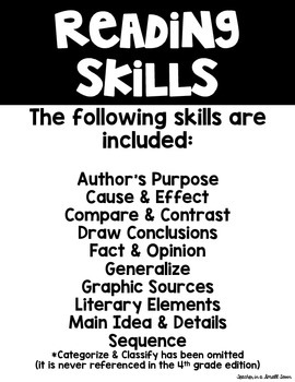 Reading Skills and Strategies Posters - Yellow Version
