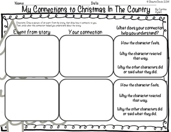 Reading Skills and Strategies inspired by Christmas In The Country by C. Rylant