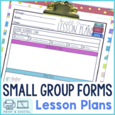 Reading Small Groups Lesson Plan Templates   Digital and P