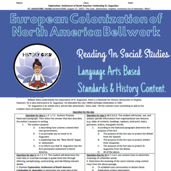 Reading/Social Studies Bell work: European Colonization of North America