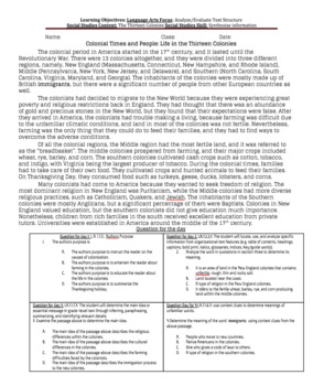 Reading/Social Studies Bell work: The Thirteen Colonies
