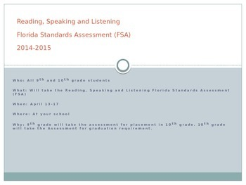 Reading, Speaking and Listening FSA Student Information