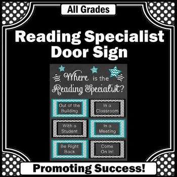 Reading Specialist Office Door Sign Teal and Black Chevron
