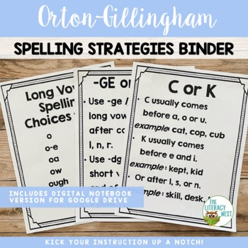 Reading Spelling Concepts and Strategies Binder: Orton-Gillingham Materials
