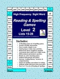 Reading & Spelling High Frequency Sight Word Game Boards  Level 2