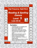 Reading & Spelling High Frequency Sight Word GameBoards Level 3
