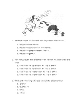 Reading Sports HOW FOOTBALL BEGAN & HOW IT IS PLAYED +18 Comprehension Questions
