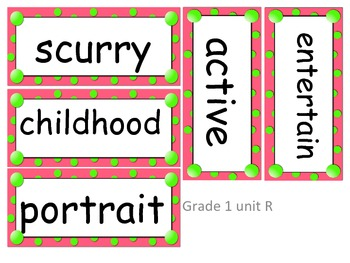 Gr 1 Amazing Words (word cards) Units 1-5 pink w/ green dots for Reading St 2013
