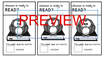 Reading Stamina Book Mark: Whoooo is Ready to Read? Owl Themed