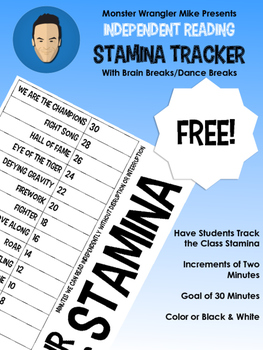Reading Stamina Chart with Brain Breaks & Dance Parties