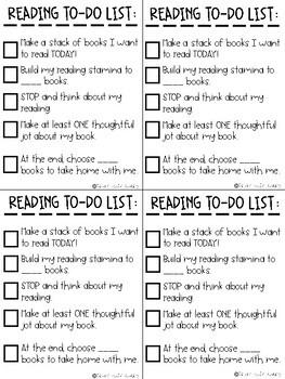 Reading Stamina Goals and Checklist
