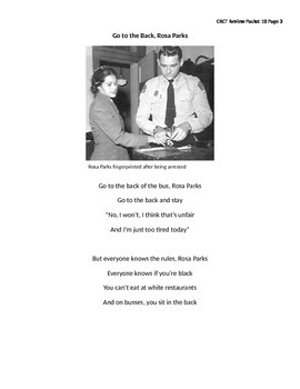 Reading Standardized Test Review - Rosa Parks (Dual Passage)