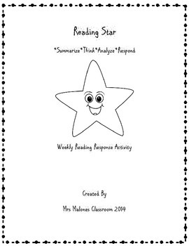 Reading Star:  Weekly Reading Response