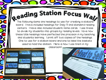 Reading Station Board Labels- Station Focus Wall