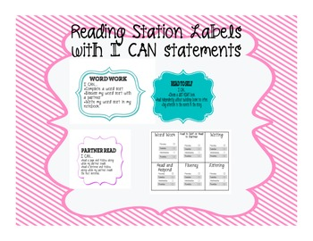 Reading Station Labels and checklist with I CAN statements