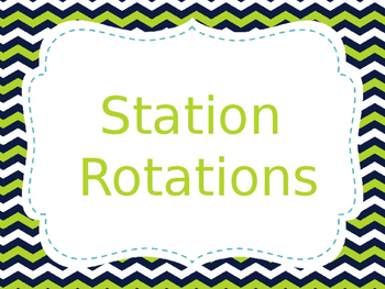 Reading Station/Rotation Automated Presentation Navy & Green (editable)